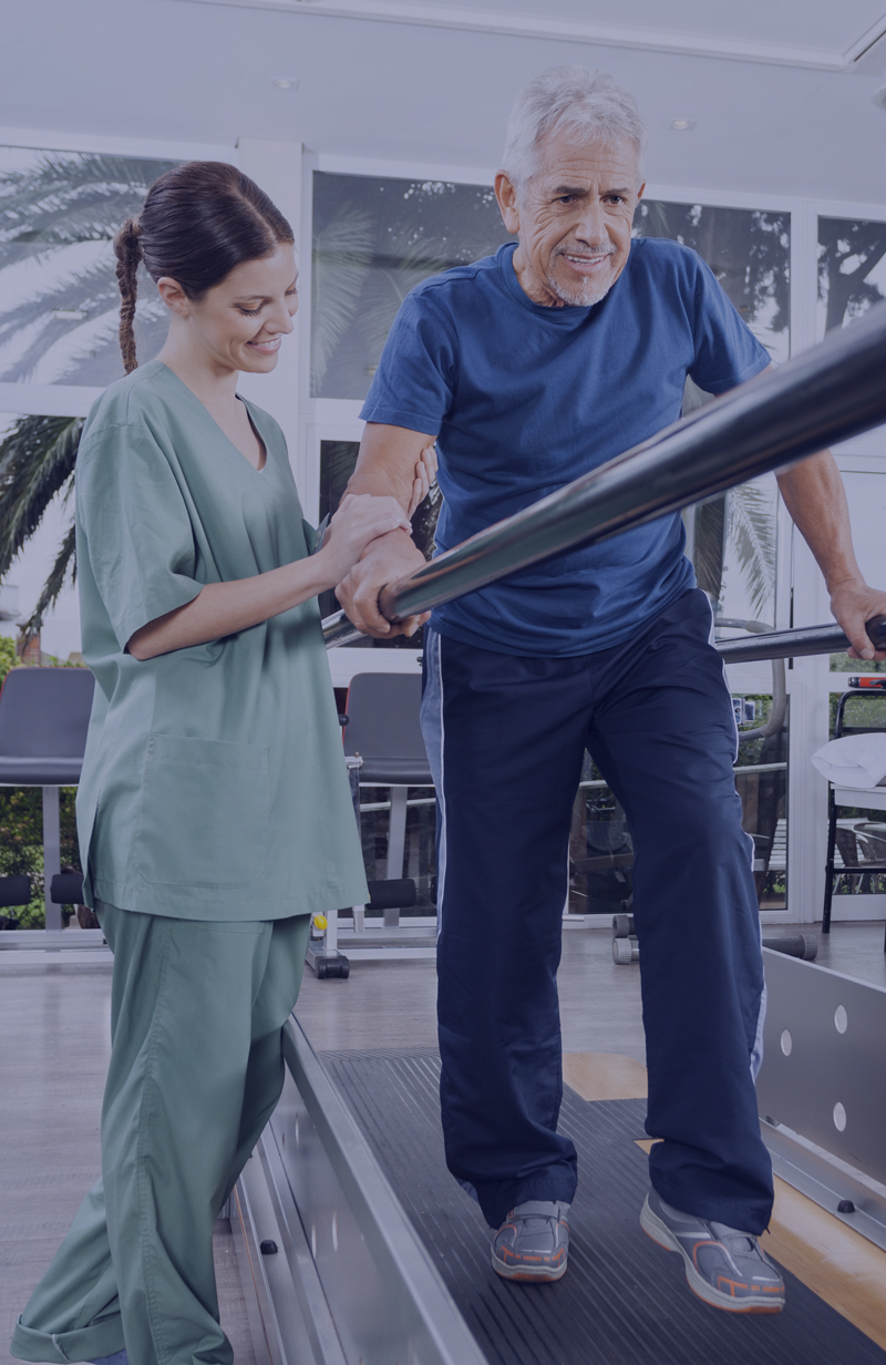 Picture of balance and fall prevention physical therapy session.